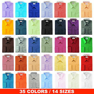 Berlioni Italy Men's Convertible Cuff Solid Italian French Dress Shirts