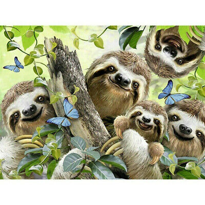 Art Full Drill Sloth Family 5D Diamond Painting Crystal Embroidery Kits DIY #CF7