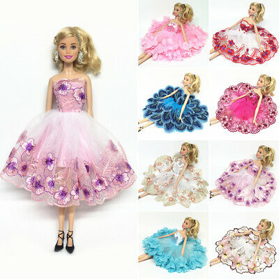 Fashion Girl Doll Clothes Flower Lace Dresses Party Gown Outfits For Barbie Doll