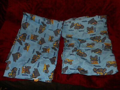 CRIB/TODDLER BED SHEET SET/1 FLAT and 1 FITTED/BLUE with TONKA TOY TRUCK PRINT