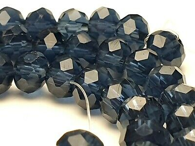 95 Glasschliff facettierte Perlen Rondelle Abakus Spacer klar hell blau 6*4 mm