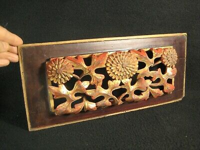ANTIQUE CHINESE QING DYNASTY (c.1880) HAND CARVED WOODEN CARVING CHRYSANTHEMUMS