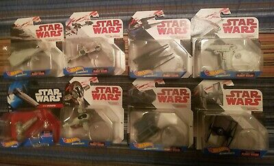 Lot of 8 Different Brand New Disney Star Wars Starships Hot Wheels Vehicles NEW!