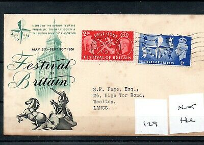 GB - George V1  (PH129) 1951 Festival set -Not FDC - pmk Festival day of opening
