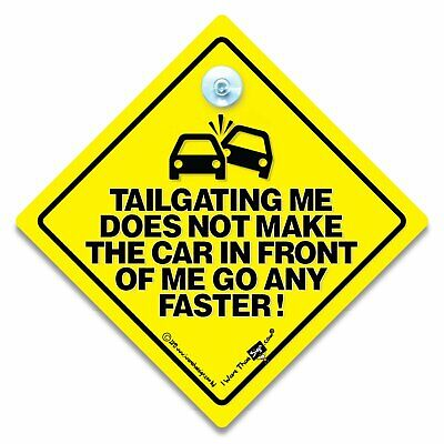 Please Dont Get Too Close Car Sign Yellow and Black Anti Tailgate Sign with Rubber Suction Cup