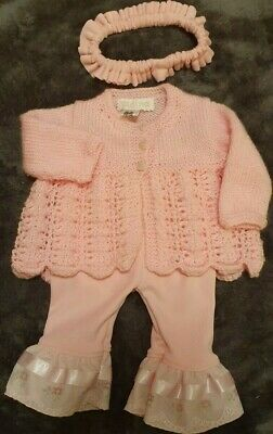 Baby Girls Pink hand knitted Cardigan pink leggings lace frill headband 0-3 Mnth