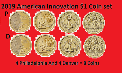 Complete 2019 P & D American Innovation Dollar 8 Coin Set - Uncirculated On Hand