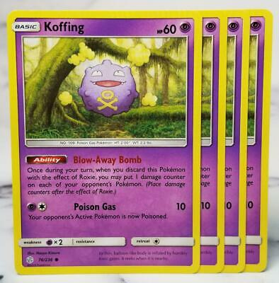 Pokemon Cards x4 Koffing 76/236 Cosmic Eclipse NM Playset