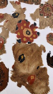 Old egyptian textile christian embroidery fragment flower 35x10cm collection