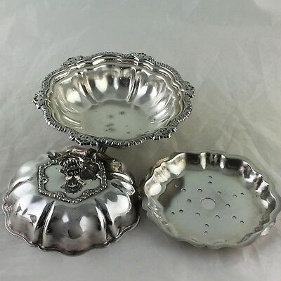 Antique Silver Plate Butter Or Cheese Dish W/ Insert,Ornate Rims,Lid,Footed