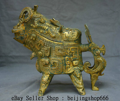 """10.8"""" Antique Old Chinese Bronze Ware Gilt Dynasty Beast Handle Drinking Vessel"""