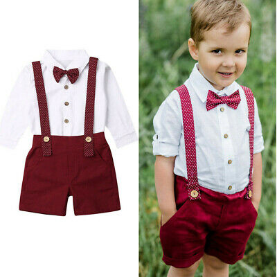 US 2Pcs Toddler Kids Baby Boy Gentleman Shirt Tops+ Shorts Pants Clothes Outfit