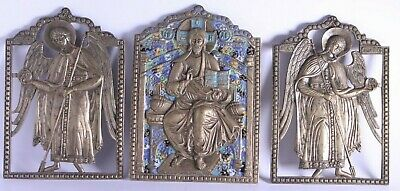 Russian icon Jesus Christ Michael Gabriel bronze enamel triptych deesis 19th cen