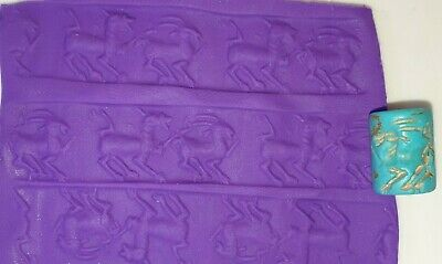 Very Rare Ancient Sumerian Turquoise Cylinder Seal with Horned Animals