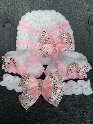 NEW hand knitted  Romany Bling baby girl booties/hat and headband  6-9months