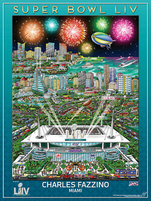 SUPER BOWL LIV (Miami 2020) Official NFL EVENT POSTER by Charles Fazzino