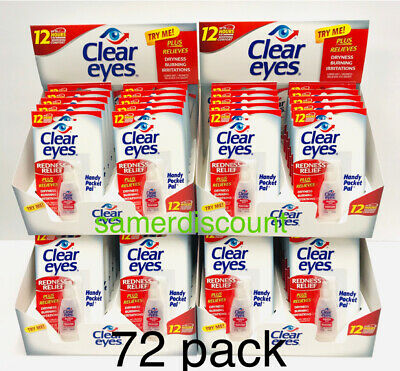 72 Pack Of Clear Eyes  Drops Redness Relief 0.2 Oz.6 Ml Exp( 2022 )Up To 12 Hrs