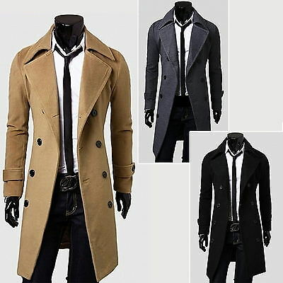 Mens Long Trench Coat Overcoat Gentlemen Double Breasted Jacket Outwear Overcoat
