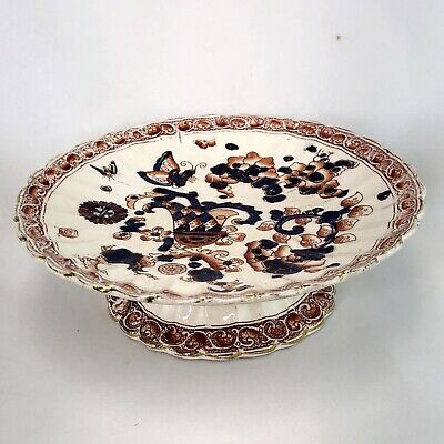 English Antique Scalloped Hand Painted Transferware Compote Imari Colors