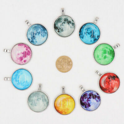 Glowing Full Moon Glass Dome Lunar Eclipse Pendant Necklace Handmade Jewelry New