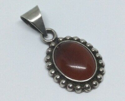 Vintage Sterling Silver 925 Mexico Carnelian Agate Oval Pendant