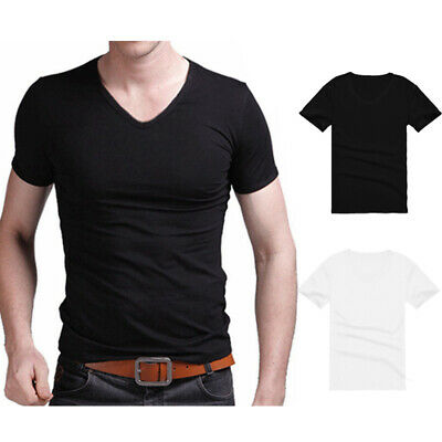 Men's Summer Casual Cotton Short Sleeve V-neck T-Shirt Tops Shirt Size M-2XL New