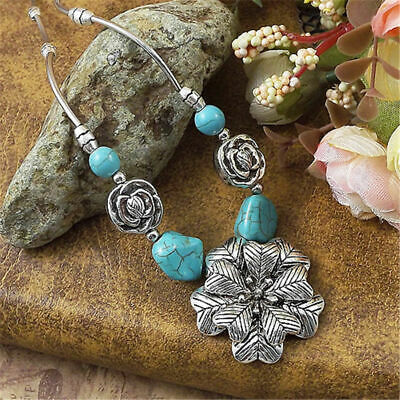 Women Alloy Silver Carved Flower Fashion Turquoise Bead Pendant Necklace Jewelry