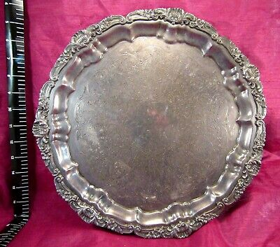 """ATQ 50's Ornate Heavy Silver Plated Footed Serving Tray Platter 14"""""""