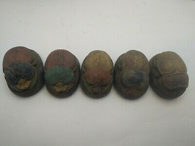 5 RARE ANCIENT EGYPTIAN ANTIQUE SCARAB Blank Stone 1231-1105 BC (7)