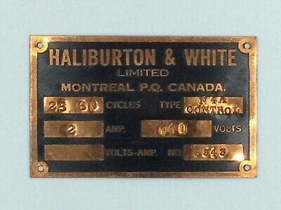 Vintage Haliburton & White Montreal QC Canada Electrical Brass Nameplate Rare