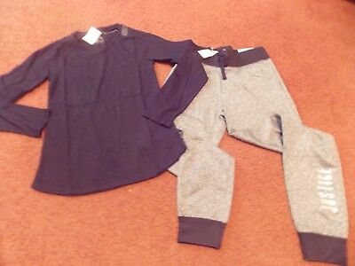 justice girls size -10---2 piece black top and warm gray gear joggers--nwt
