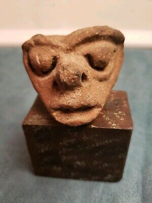 Pre-Columbian Mayan Ancient Artifact Head  Piece Fragment with stand