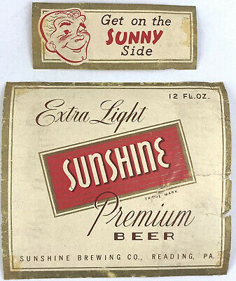 Vintage Extra Light Sunshine Premium Beer Label Reading Pennsylvania & Neckband