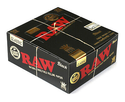 RAW Classic Black King Size Slim unrefined rolling paper - 1 box - 1600 papers