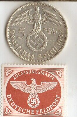 *rare WW2 *german STAMP and Silver EAGLE(.900%)-coin