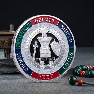 Put on The Whole Armor of God Commemorative Challenge Coin Collection Giftsilver