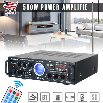 US 500W Bluetooth Power HiFi Stereo Amplifier Home Karaoke VU Meter FM USB 110V