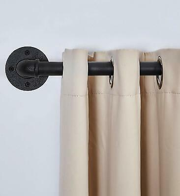 """1"""" Curved Industrial Curtain Drapery Rod- Curtain Rod for Windows 66 to 120"""