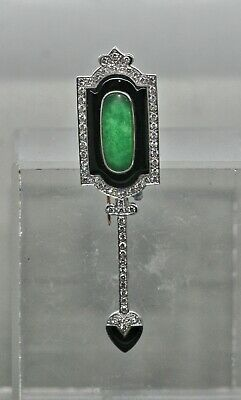 Exquisite Art Deco French 14K Gold Brooch Set w/Jade Diamonds & Oynx c1930s