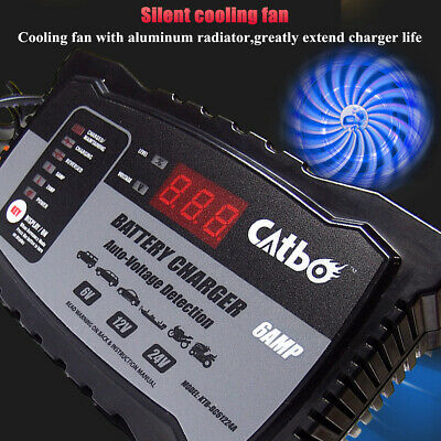Automatic Electronic Car Battery Charger 6V-24V Fast/Trickle/Pulse Auto Cut Off