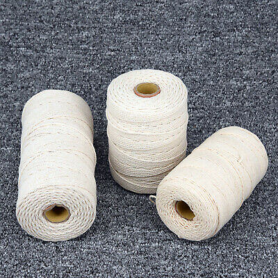 Natural Beige Cotton 1/2/3mm Twisted Cord Rope Artisan Macrame String DIY Craft