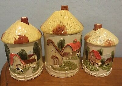 Vintage Marks and Rosenfeld Set (3) Farm House Barn Cottage Canisters Japan