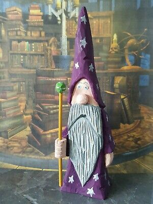 Hand carved and hand painted wooden wizard with staff