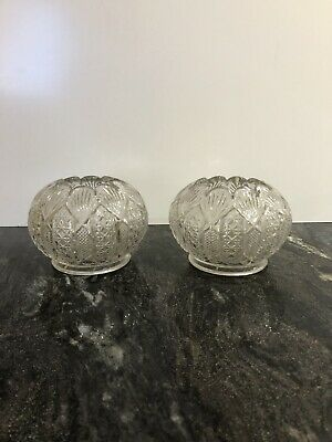 Pair Beautiful Vintage Dainty Glass Crystal Lily Shaped T-Light Candle Holders