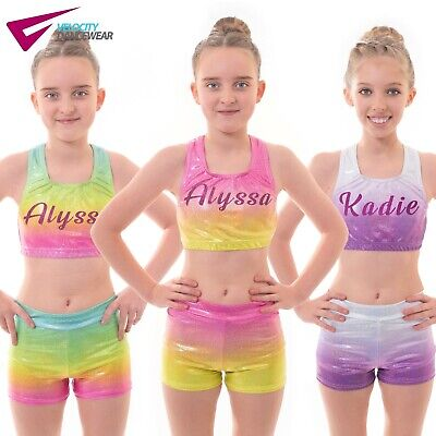 Personalised Name for Girls Training Gymnastics Dance Gym Crop Top and Shorts