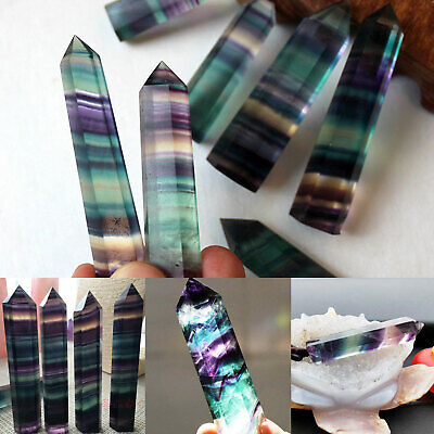 Colorful Rainbow Natural Fluorite Quartz Crystal Wand Point Healing Stone Gifts