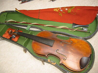 Interesting, beautifully flamed, very old violin, some cracks at front