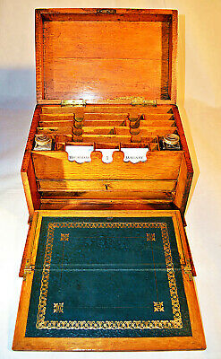 Late Victorian Golden Oak Campaign Stationery Cabinet & Writing Slope