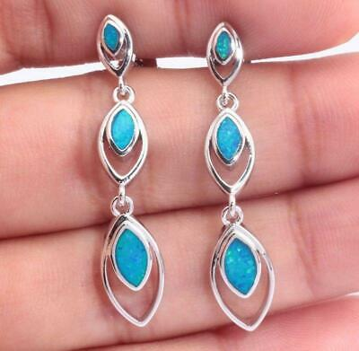 """Blue Fire Opal Silver Hot Sell for Women Jewelry Necklace Pendant 1 5//8/"""" OD6670"""