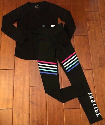Nwt Justice Girls Size 12 Outfit~Long Sleeve Tee / Rainbow Logo Stripe Leggings